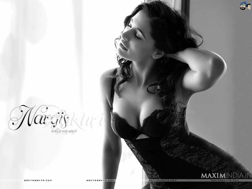 Nargis Fakhri Deep Cleavage Show in Black Bikini Images of Maxim