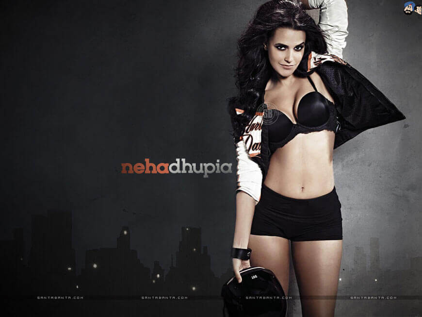 neha dhupia bikini wallpapers tight black bra