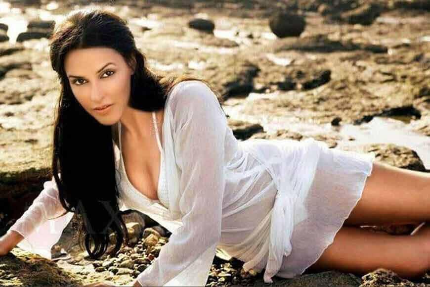 Neha dhupia bikini body in transparent dress