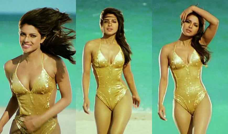 hot priyanka chopra golden bikini pictures looking gorgeous