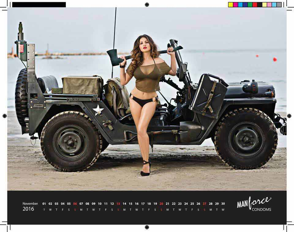 Sunny Leone Black Bikini Pictures In Rouge Look With jeep