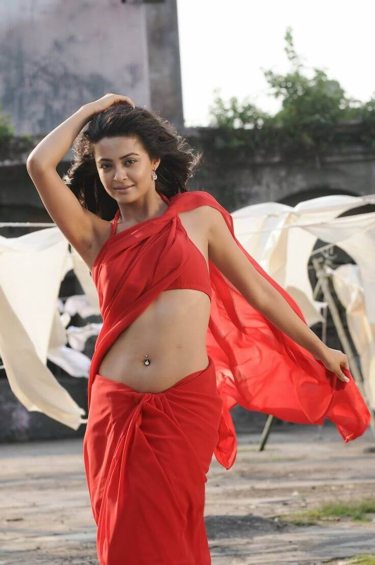 surveen chawla sexy navel show in red saree
