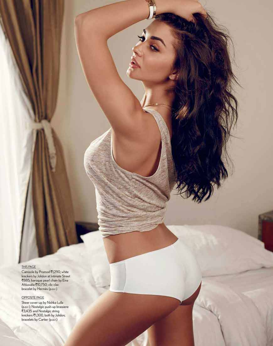 amy jackson sexy pose in panty displaying her hot butt wearing underwear