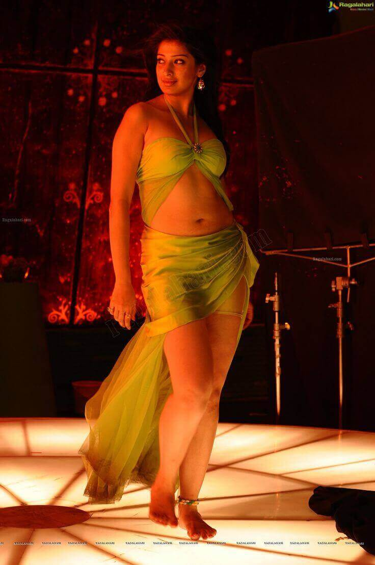 sexy curvy body shown by Raai Laxmi in green bikini outfit