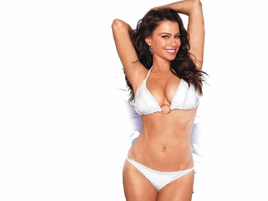 sofia vergara shows off toned abs in white bikini