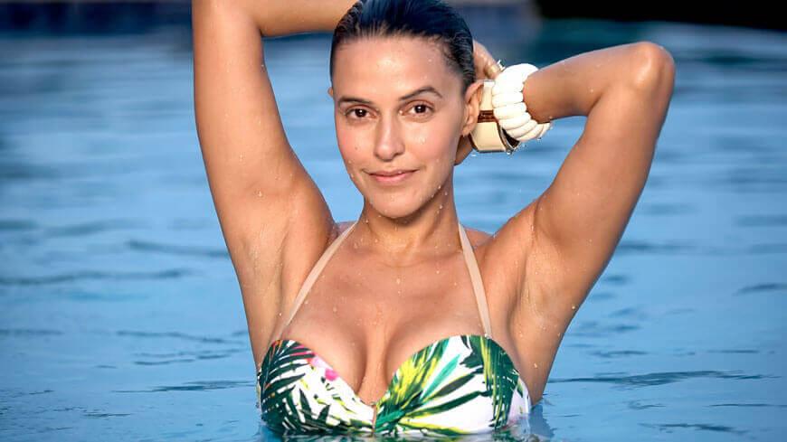 Neha Dhupia in Colorful bikini
