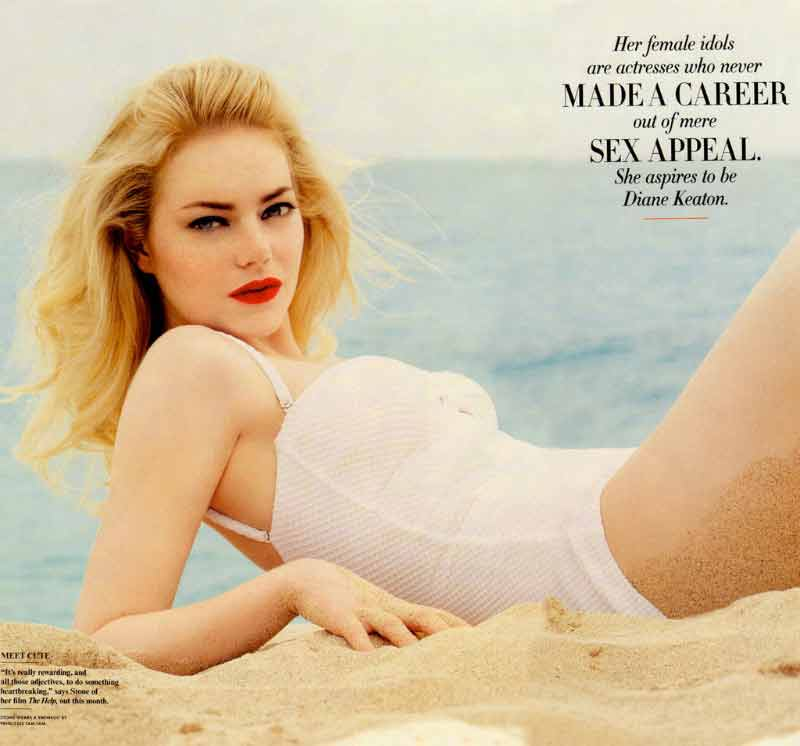 Hot emma stone bikini lingerie photoshoot on beach