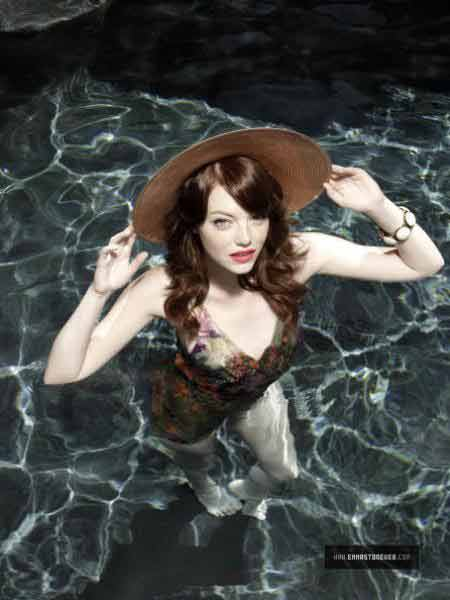 Actress Emma Stone Swimsuit Shoot in Shinny Pool Water