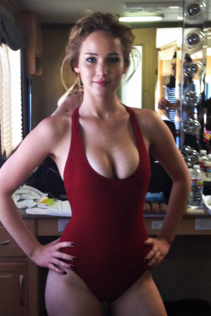 boobs-pop-out-pictures-of-jennifer-lawrence-looking-really-sexy-in-red-color-swim-suit