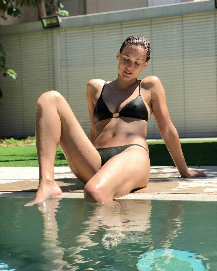 Bar Refaeli's Swimsuit Pictures Near Pool her Nipples are visible