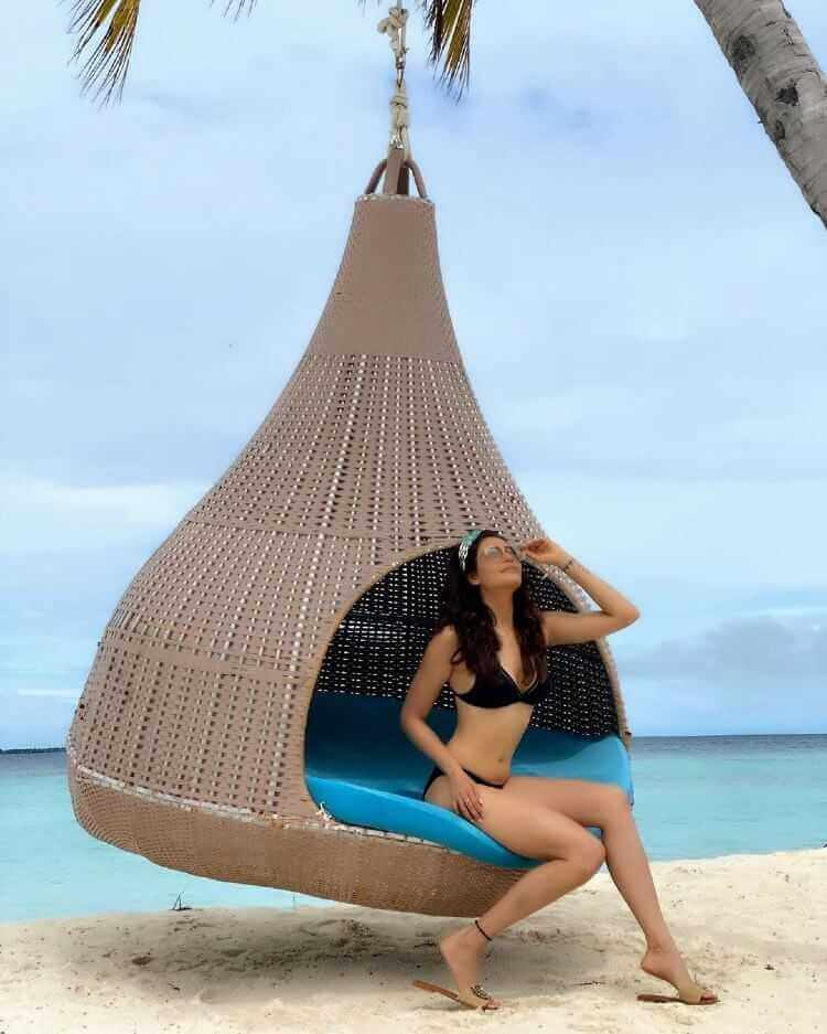 Karishma Tanna Two Piece Bikini Photos Relaxing on Beach