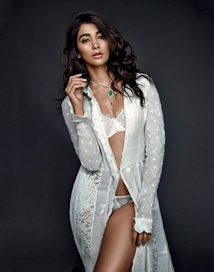 hot pooja hegde white lingerie pictures