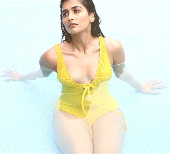 pooja hegde yellow bikini showing side boobs in stills