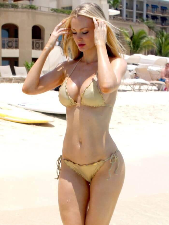 united kingdom actress sophie turner in golden bikini raises the temperature