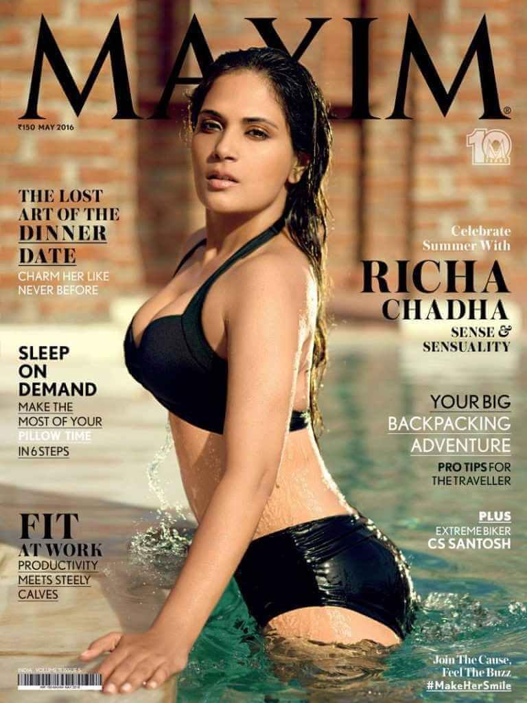 Richa-Chadha-black-bikini-stills-showing-sexy-butt