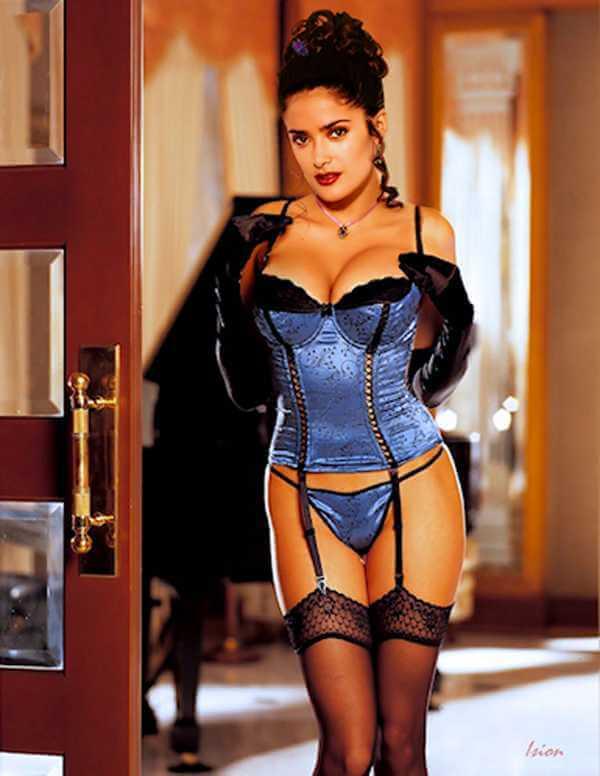 Salma-Hayeks-sensual-look-in-lingerie