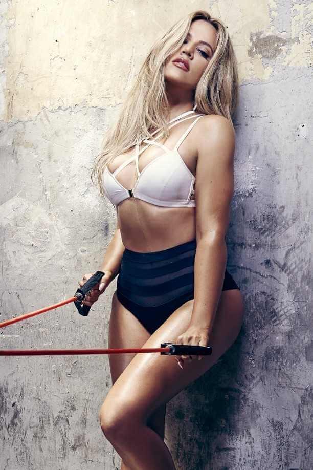 khloe kardashian wearing hot tight bikini while posing for gym photoshoot