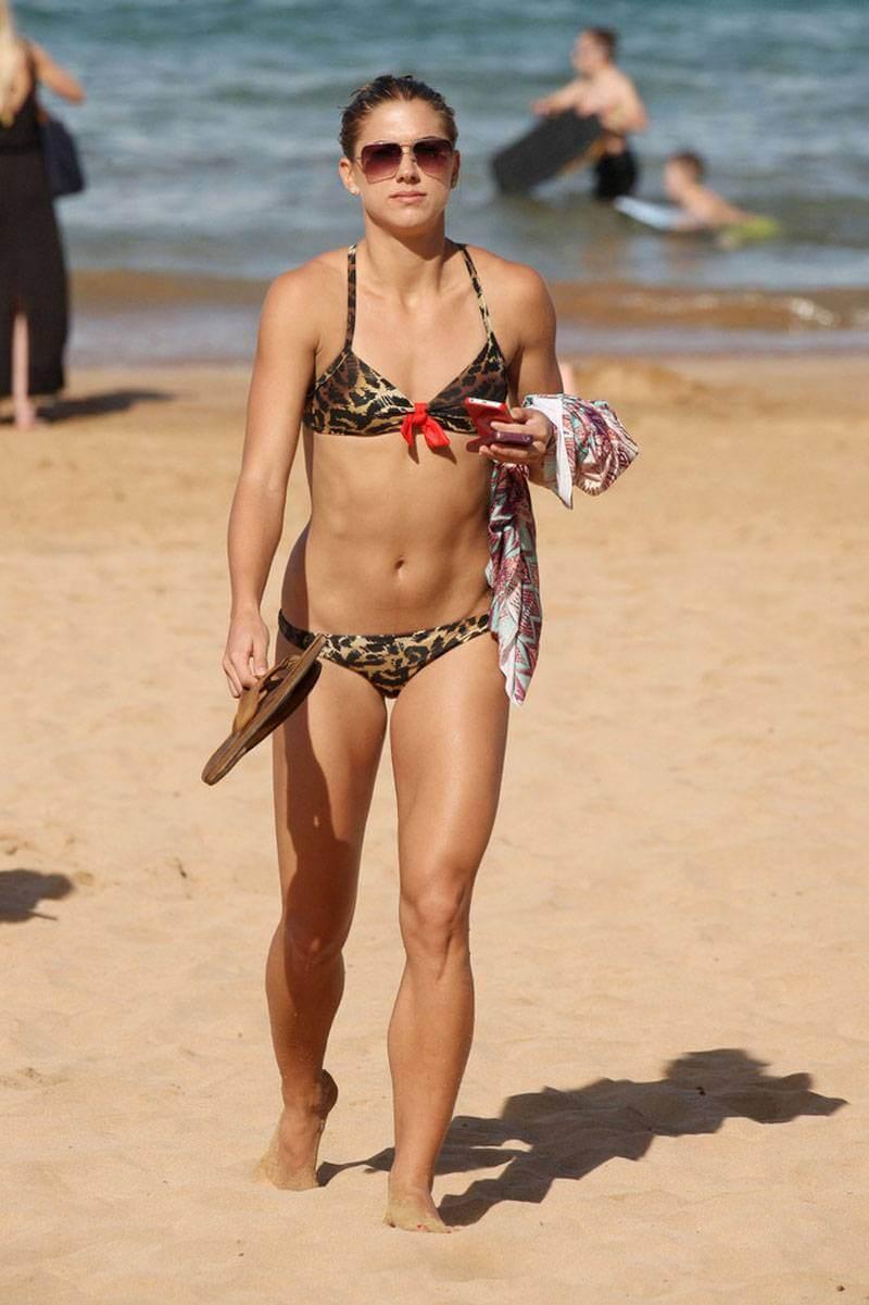 ALEX-MORGAN-in-Leopard-Print-Bikini-on-the-Beach-in-Hawaii