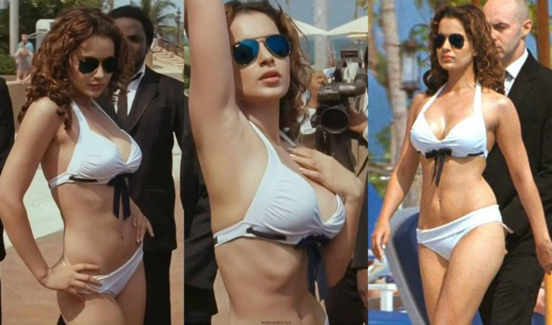 Kangana-ranaut-white-bikini-flaunting-her-hot-body