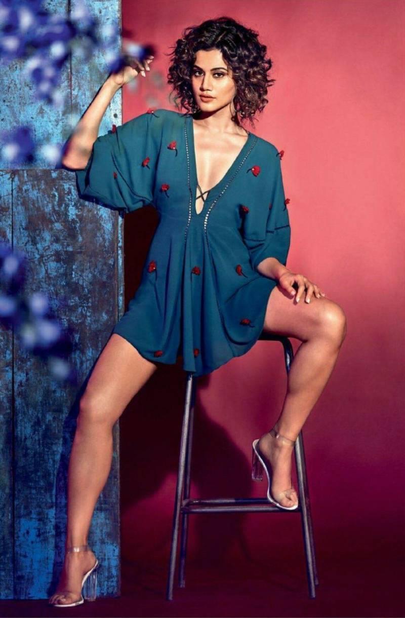 taapsee-pannu-deep-cleavage-hot-legs-in-short-dress